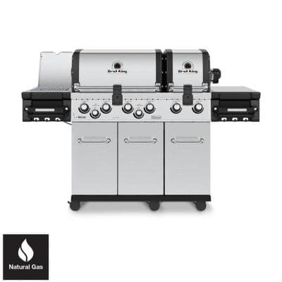 Regal S 690 PRO IR 6-Burner Natural Gas Grill in Stainless Steel with Infrared Side Burner and Rear Rotisserie Burner