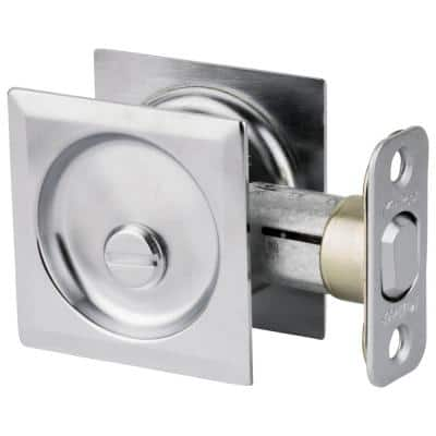 Satin Chrome Square Bed/Bath Pocket Door Lock
