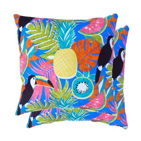Hampton Bay Toucan Amazon Sail Blue Square Outdoor Throw Pillow 2 Pack 7680 02608500 The Home Depot