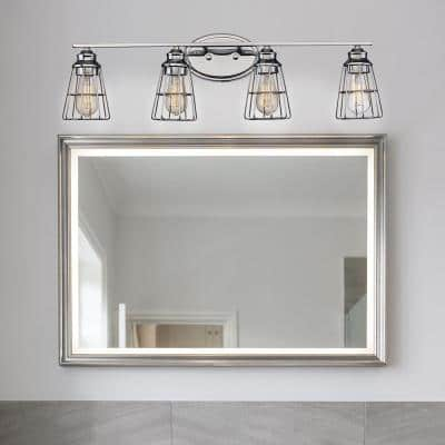 Solution 4-Light Brushed Nickel Vanity Light with Metal Shades