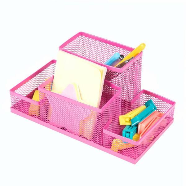 4 Scetion Multifunctional Pencil Holder, Pink Metal School Desk