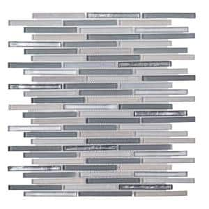 Mirage Gray 11 in. x 11.75 in. Interlocking Glass Mosaic Tile (0.897 sq. ft./Each)