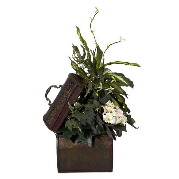 Nearly Natural 20 In H Green African Violet Dieffenbachia And Ivy With Chest Silk Plant 6684 The Home Depot
