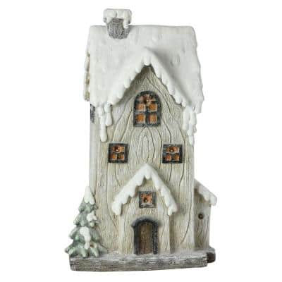 19 in. LED Lighted Battery Operated Rustic Glittered 2-Story House Christmas Decoration