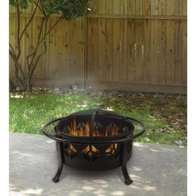 Sunderland Deep Bowl 36 in. x 23 in. Square Steel Wood Fire Pit in Bronze