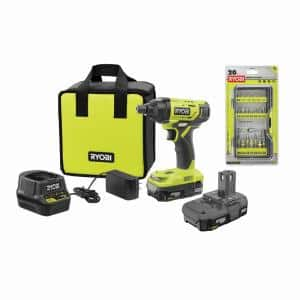 ONE+ 18V Cordless 1/4 in. Impact Driver Kit w/ (2) Batteries, Charger, Bag, w/ Bonus Impact Rated Driving Kit (20Piece)
