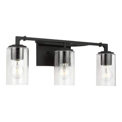 Lawrence 3-Light Midnight Black Bathroom Vanity Light with Clear Seeded Glass Shades