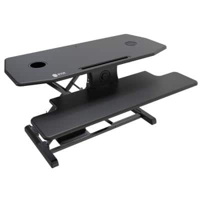 Electric Standing Black Desk Converter with Qi-Certified Wireless Charging Pad