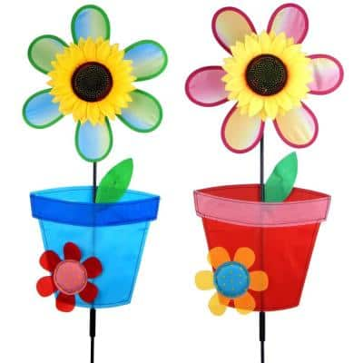39 in. Blue and Red Sun Flower Pot Spinner Pinwheel (Set of 2)
