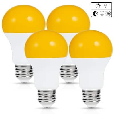 6-Watt, 40-Watt Equivalent A19 Dusk to Dawn LED Bug Light Bulb E26 Base in Yellow-Colored 2000K (4-Pack)