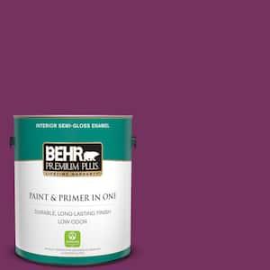 Behr Premium Plus 1 Gal 690b 7 Plum Jam Semi Gloss Enamel Low Odor Interior Paint And Primer In One 330001 The Home Depot