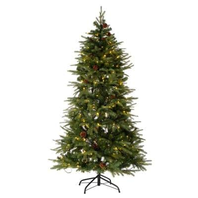 6 ft. Pre-Lit Green Fir Artificial Christmas Tree with 350 LED Lights 9 Functional Multi-color Remote controller
