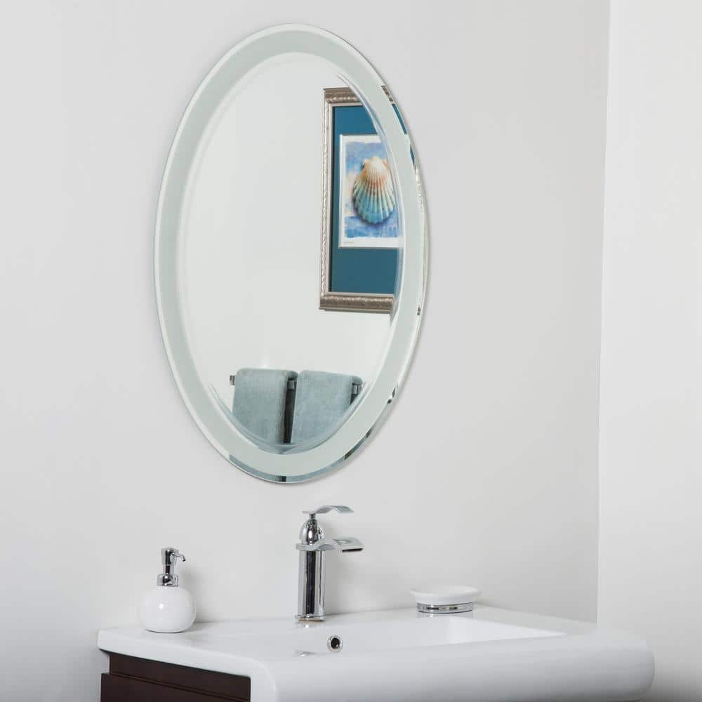 Decor Wonderland 24 In W X 32 In H Frameless Oval Bathroom Vanity Mirror In Silver Dwsm492 The Home Depot