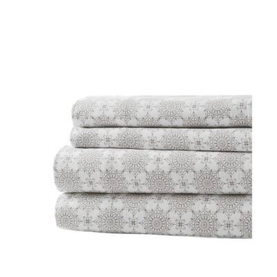 Gloria Vanderbilt Off-White Cotton Flannel Aster King Sheet Set