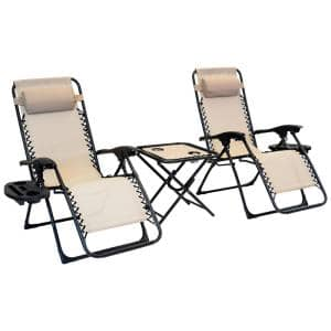 3-Piece Zero Gravity Taupe Metal lawn Chair Set - 2 Chairs with Cupholders and Table