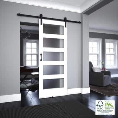 36 in. x 96 in. 5 Full Lite Frosted Glass White Painted Solid Wood Interior Sliding Door with Hardware Kit