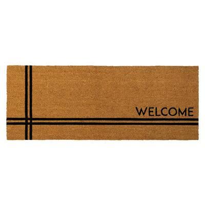 Crisscross Welcome 47 in. x 18 in. Coir Door Mat