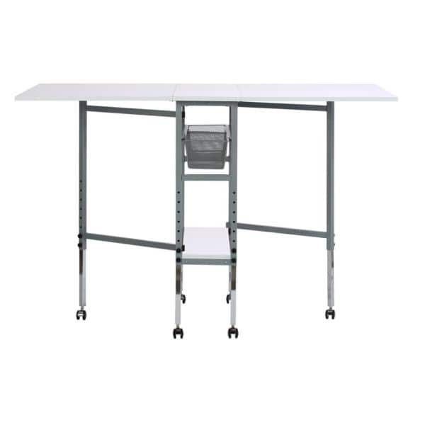 Sew Ready Hobby Craft 60 In W X 36 In D Mdf Folding Fabric Cutting Table With Drawers Adjustable Height Silver White 13374 The Home Depot