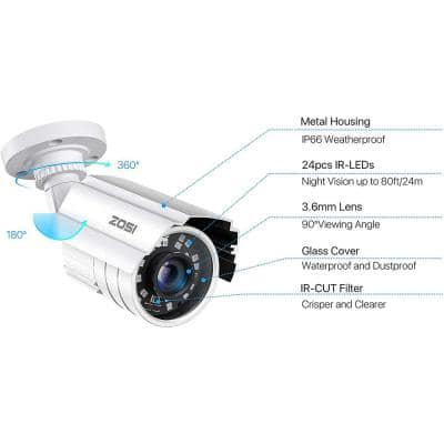 80 ft. Wired 2MP Outdoor Bullet Security Camera Compatible with 4-In-1 HD-CVI/TVI/AHD/960H Analog CVBS IR Night Vision