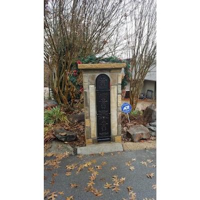 Bountiful Life 3-Door Front Access Lockable Ground Mount Mailbox in Black