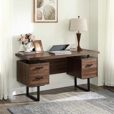 48 in. W Rectangular Brown Wood 3 Drawer Computer Desk