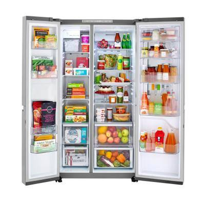 26.8 cu. ft. Side by Side Refrigerator with InstaView Door-in-Door, Non-Dispenser with Pocket Handles in Platinum Silver