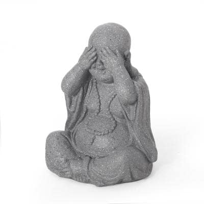 Thiago 12.25 in. Outdoor See No Evil Monk Garden Statue