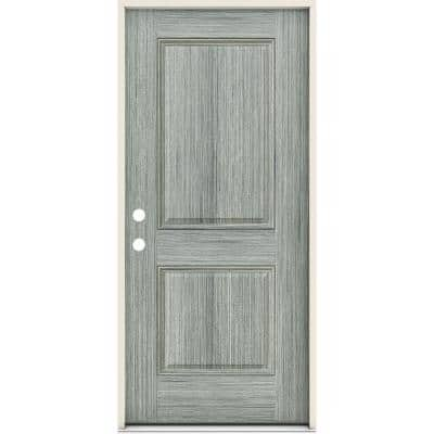 36 in. x 80 in. 2-Panel Right-Handed Square Stone Fiberglass Prehung Front Door