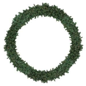 10 ft. Pre-Lit High Sierra Pine Commercial Artificial Christmas Wreath with Clear Lights