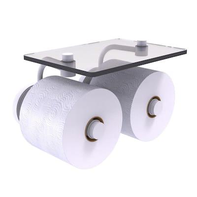 Prestige Regal 2-Roll Toilet Paper Holder with Glass Shelf in Matte White