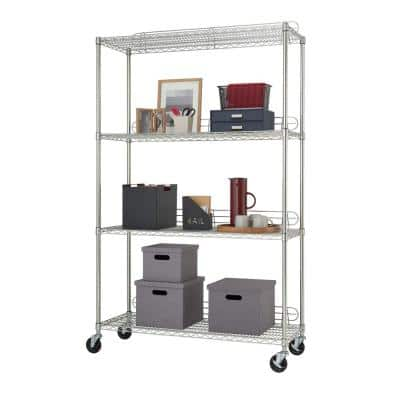 EcoStorage Chrome 4-Tier Rolling Steel Wire Garage Storage Shelving Unit (48 in. W x 77 in. H x 18 in. D)