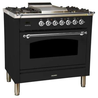 36 in. 3.55 cu. ft. Single Oven Dual Fuel Italian Range True Convection, 5 Burners, Griddle, Chrome Trim in Glossy Black
