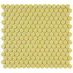 Hudson Penny Round Vintage Yellow 12 in. x 12-5/8 in. x 5 mm Porcelain Mosaic Tile (10.74 sq. ft. / case)