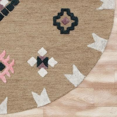 Hand Hooked Taupe/Black 7 ft. Round Southwest Rustic Wool Area Rug