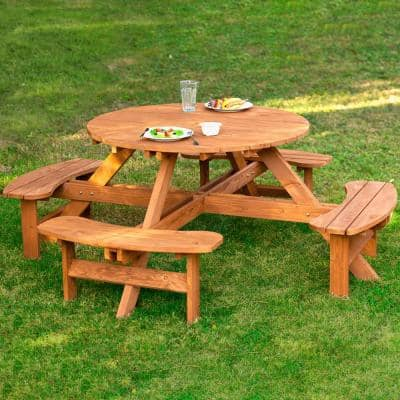 Round 82 in. W x 82 in. D x 30 in. H Wooden Brown Picnic Table