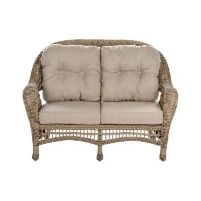 Saturn Collection Light Brown PVC Wicker Outdoor Loveseat with Beige Cushions