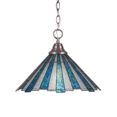 1-Light Brushed Nickel Pendant with 16 in. Sea Ice TiffGlass Glass