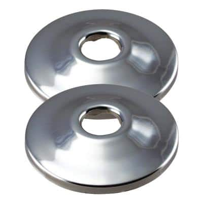 2-3/8 in. x 1/2 in. Nominal Copper Shallow Grip Flange in Polished Chrome (2-Pack)