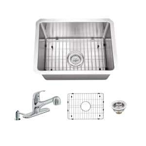 All-In-One Undermount 16-Gauge Stainless Steel 15 in. 0-Hole Single Bowl Radius Bar Sink with Pull Out Faucet