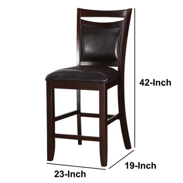 Black Wooden Armless High Chair Set, 24 Inch High Dining Chairs