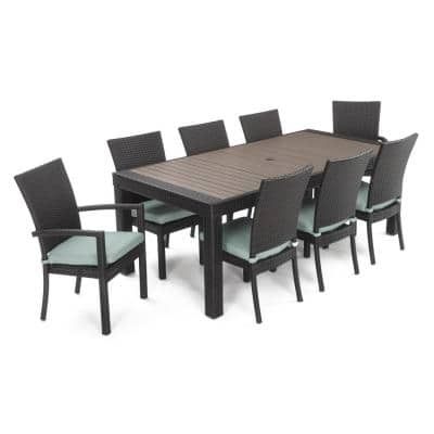 Deco 9-Piece Patio Dining Set with Bliss Blue Cushions