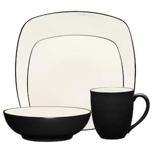 Colorwave Graphite Black  Stoneware Square 4-Piece Place Setting (Service for 1)
