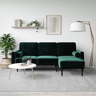 Elinda Green Velvet Small Space Sectional Futon