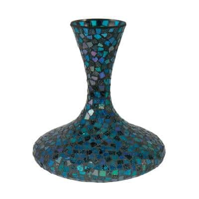 12 in. Sapphire Large Mosaic Art Glass Vase