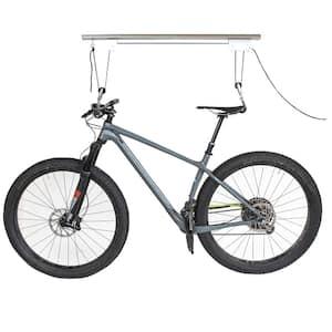 Silver 1-Bike Ceiling Mount Garage Bike Rack