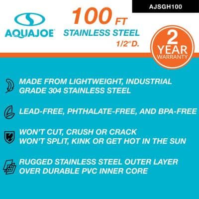 Indestructible 1/2 in. Dia x 100 ft. Heavy-Duty Spiral Constructed 304-Stainless Steel Garden Hose