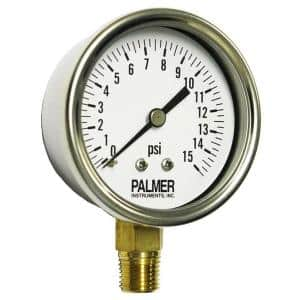 2.5 in. Dial 15 psi Stainless Steel Case Utility Gauge