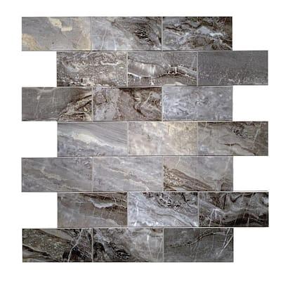 DIP Dark Travertine Subway Tile 12 in. x 12 in. Self-Adhesive PVC Backsplash