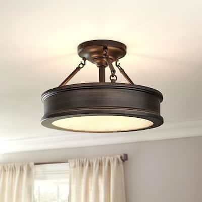 Grafton 3-Light Hallmark Bronze Semi Flush Mount Ceiling Light