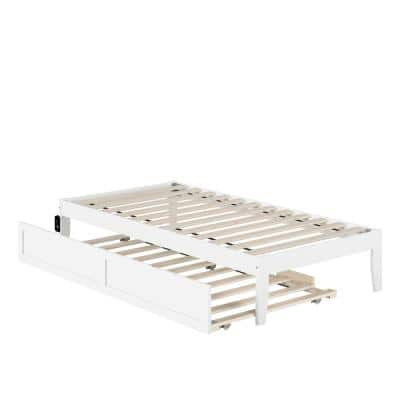 Colorado Twin Bed with USB Turbo Charger and Twin Trundle in White